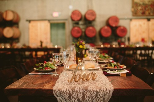 Table setting in Barrel Room