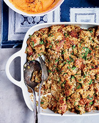 Multigrain Bread Stuffing with Sausage and Herbs